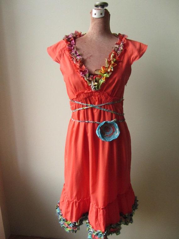 SALE Coral V Neck Dress Empire Waist Dress by GarageCoutureClothes