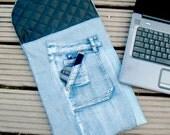 17 - 18 inch Laptop Sleeve, Padded Denim Patchwork Gadget Sleeve, Eco-Friendly Gadget Cozy, Men, Repurposed Blue Denim, Black padded lining