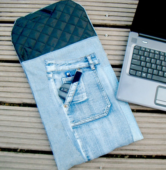 17 - 18 inch Laptop Sleeve, Padded Denim Patchwork Gadget Sleeve, Eco-Friendly Gadget Cozy, Men, Repurposed Blue Denim, Black padded lining