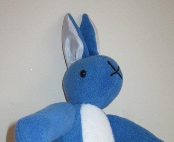 Rabbit Toy Blue Fleece Bunny White Fleece Chested Boy or Girl Gift Shower Present Easter Special Times Basket Filler