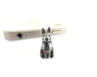 Rabbit Dust Plug- iPhone iPad & Cell Phone Dust Plug- Sterling Silver Finish