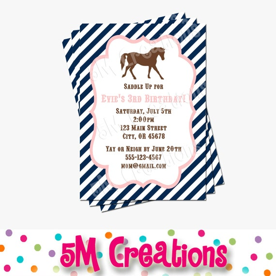 Pony party invitation horse birthday invitations cowgirl il570xn filmwisefo