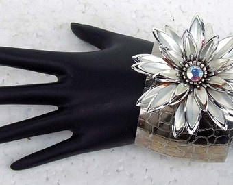 Vintage Silver Multi Petal Large Brooch Rhinestone Center Recycled Upcycled Adjustable Cuff Bracelet ATCTTEAM Corsage Wedding Prom