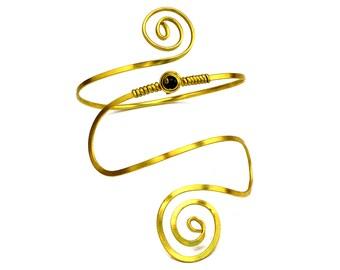 Spiral Arm Cuff, Brass Armlet, Gold Amband, Cleopatra Arm Cuff, Arm Bracelet, Stone Upper Cuff, Upper Arm Cuff, Upper Arm Bangle