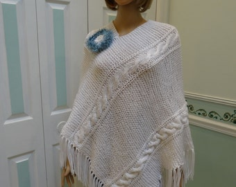 HAND KNITTED PONCHO : White Cable , plus sized and maternity sized, with removable brooch , hand knitted, 5 inch fringe, fits size 10 to 16