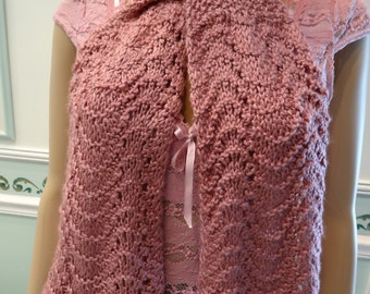 Countess Bathory scarf, plum rose, soft silky yarn , extra long , can be worn in different ways.