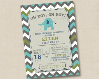 Modern Chevron Elephant Custom Baby Shower Invitation or Birth Announcement Design