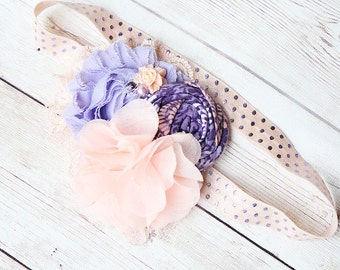 Stardust - lavender purple and peach metallic rosette and chiffon bloom headband with lace