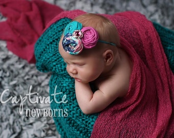 By My Side- triple rosette headband in aqua, hot pink and navy