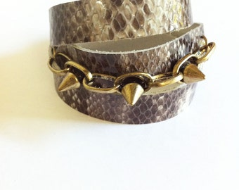 Triple Wrap Bracelet Snakeskin Stud Wrap Brass Spiked Studs Bohemian Triple Cuff Leather Chain Wrist band boho print His Her Anniversary