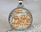 New York map necklace, Manhattan map pendant, Brooklyn Bronx map Queens map, travel map, map jewelry New York map key chain