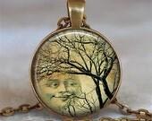 Smiling Moon Tree art pendant, tree resin pendant, moon necklace, full moon pendant, full moon jewelry moon keychain key chain