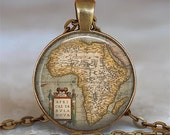 Africa Antique Map pendant, Africa map necklace Africa map pendant, Africa map jewelery, Africa pendant Africa keychain key chain