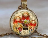 Red Babushka Dolls pendant, matryoshka necklace doll necklace ethnic doll pendant Russian doll pendant, Russian keychain key chain