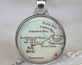 Florida Keys map necklace, Lower Keys, Key West pendant, Florida Keys pendant, Key West map necklace Key West keychain key fob