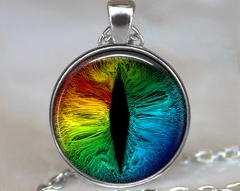 Rainbow Dragon Eye pendant, Dragon jewelry, dragon necklace, Dragon geekery, rainbow pendant rainbow necklace keychain key chain