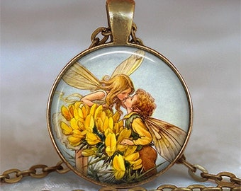 Fairy Romance pendant, fairy kiss, romantic gift fairy pendant antique fairy jewelry Valentines gift fairy necklace keychain