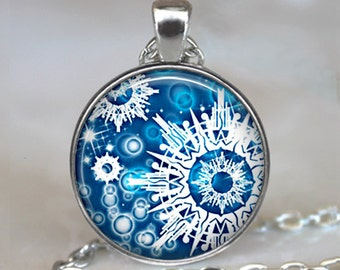 Snowflake pendant, snowflake jewelry, Blue Christmas jewelry Christmas necklace charm winter jewelry keychain key fob