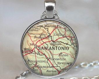 San Antonio, map necklace, San Antonio map pendant, San Antonio pendant, San Antonio necklace keychain key chain