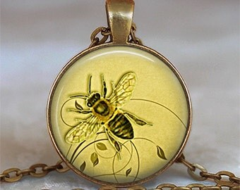 Honeybee pendant, Honey bee necklace honey bee jewelry beekeeper gift apiarist gift honey bee keychain key chain