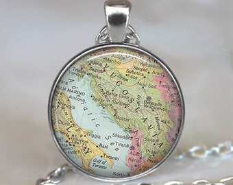 Yugoslavia map necklace, Yugoslavia map pendant, Slovenia, Croatia, Serbia map necklace, map jewelry map keychain key chain
