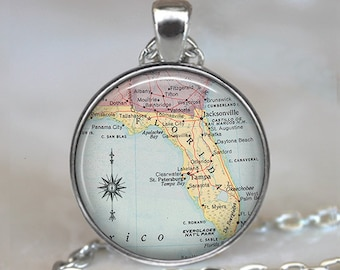 Florida map necklace, Florida State map pendant, Florida map pendant, Florida pendant, Florida necklace Florida keychain key chain