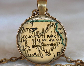 Sequoia National Park map pendant, map necklace charm, Sequoia Nat'l Park necklace, map keychain map key chain map key fob