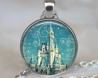 The Magic Kingdom pendant, fairy tale castle necklace, fairy tale pendant, fairy tale necklace, fairy tale jewelry keychain key chain