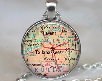 Tallahassee map necklace, Tallahassee pendant, Tallahassee Florida pendant, Tallahassee necklace map jewelry keychain key chain