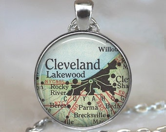 Cleveland map pendant, Cleveland map necklace, Cleveland necklace, Cleveland pendant, Cleveland Ohio necklace keychain key chain