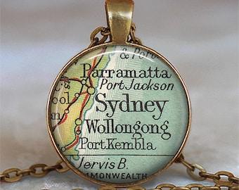 Sydney, Australia map necklace, Sydney necklace, Sydney map necklace, Sydney map pendant Sydney keychain key fob