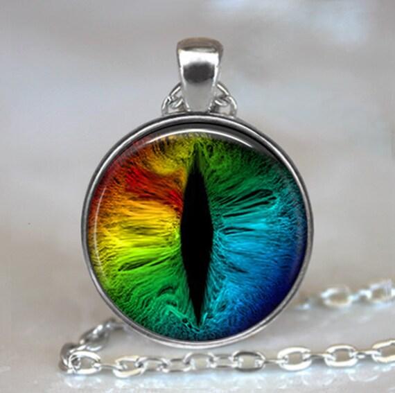 Rainbow dragon eye pendant dragon jewelry dragon necklace - Bracelet arc en ciel ...