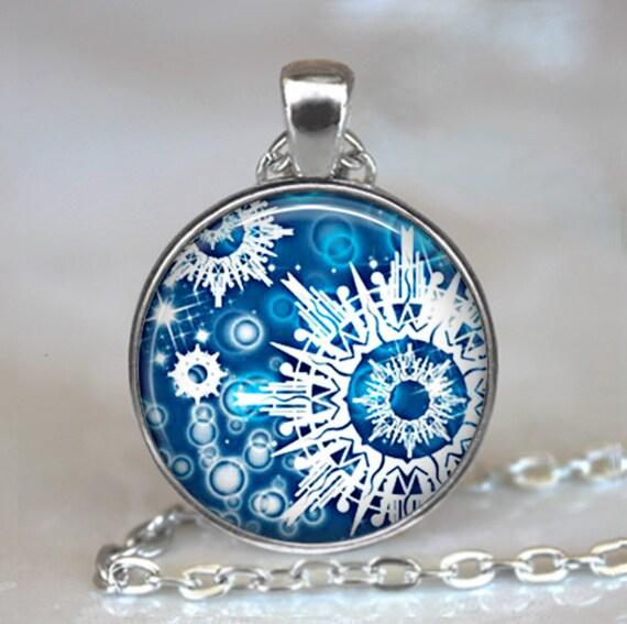 Snowflake pendant, snowflake jewelry, Blue Christmas jewelry Christmas necklace charm winter jewelry keychain key fob