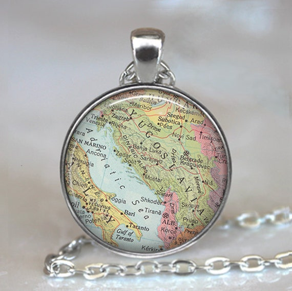 Yugoslavia map necklace, Yugoslavia map pendant, Slovenia, Croatia, Serbia map necklace, map jewelry map keychain key chain