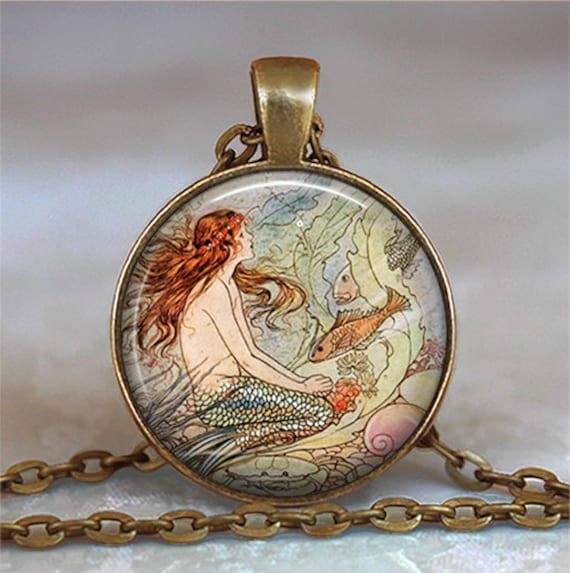 Fairytale Mermaid pendant, mermaid necklace, resin pendant, Little Mermaid jewelry, fairy tale pendant, mermaid keychain key fob