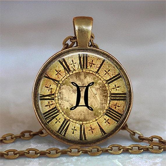 Steampunk Zodiac Gemini pendant, Zodiac jewelry, Gemini necklace, Zodiac necklace, Zodiac pendant Gemini keychain key chain