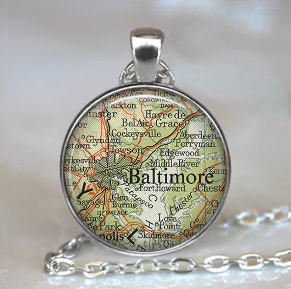 Baltimore, Maryland map pendant, Baltimore necklace, Baltimore pendant, Baltimore map necklace Baltimore keychain key chain key fob