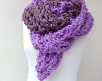 Long chunky scarf -  Purple chunky knit scarf - Long hand knit scarf , purple scarf