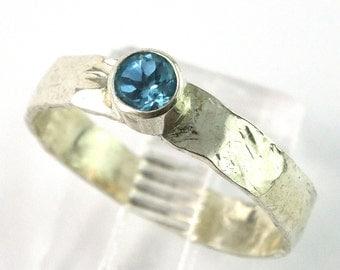 Swiss Blue Topaz Bezel Set Sterling Silver Stacking Ring