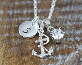 Anchor Necklace, CZ Solitaire Monogram Initial Personalized  925 Sterling Silver