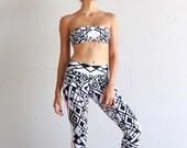 Black and White - Organic Leggings - Printed Leggings - Geometric Leggings - Yoga Clothing