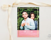 SAVE THE DATE - Trimmed Faux Gold and Pink Water Color Photo Save the Date Cards by Sincerely, Jackie