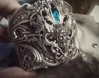 Silver & Swarovski Cuff - Bracelet - Statement - Fantasy - Mermaid - Blue - Fall - September - Unique - Wedding - Bridal - Back to School