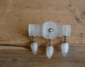 Victorian carved feldspar brooch with seed pearl and tassels