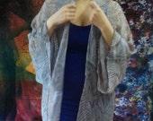 Deco Bird Kimono, Grey/Blue/Brown, One-of-a-Kind, printed sheer silk chiffon spring kimono jacket resort bridal robe hand beaded