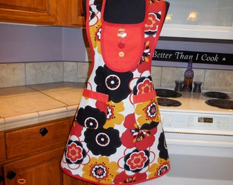 Retro, vintage,  full halter top apron, large flowers, bright red and yellow, spunky, inspired, MATCHING POT HOLDER