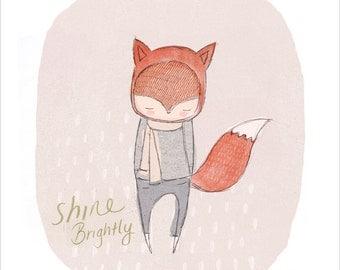 Wall Art, Fox Art for Boys Room, Shine Brightly Typography Print