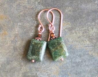 Green Earrings, Jasper Earrings, Stone Earrings, Copper Earrings, Stone Jewelry, Bohemian Earrings, Handmade Earrings, Summer Earrings