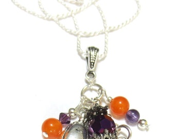 Clemson Necklace, Sterling Silver Tiger Paw and Rope Chain, Amethyst Swarovski Crystal, Orange & Purple Glass Bead Dangles, Team Jewelry