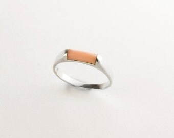 Minimalist Pink Coral Sterling Silver Ring